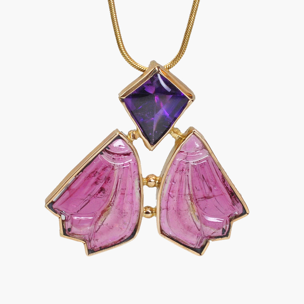 Faceted Amethyst with Rubelite Tourmaline 14k Handcrafted Winged Pendant