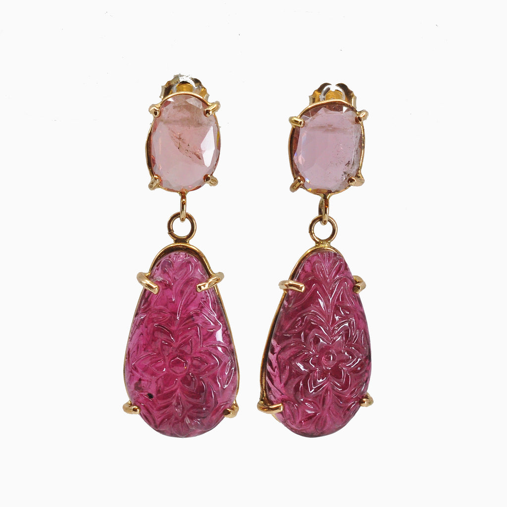 Pink Tourmaline 14k Handcrafted Carved Gemstone Earrings