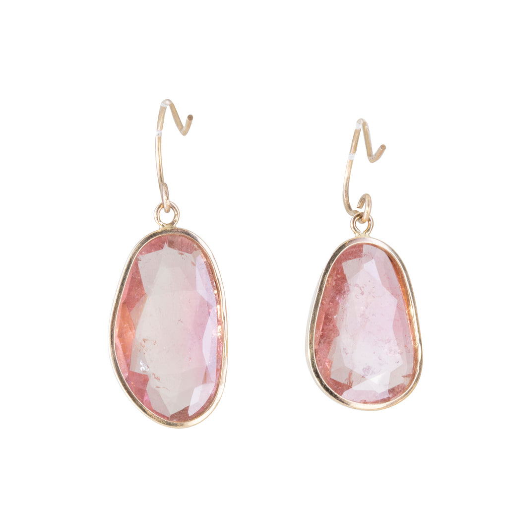 Pink Tourmaline 20.16 carat Handcrafted 14k Earrings