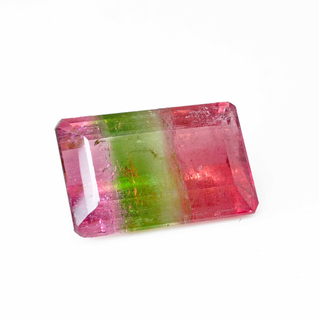 Pink and Green Bi-Color Tourmaline 19.85 mm 16.93 carats Faceted Rectangle Gemstone