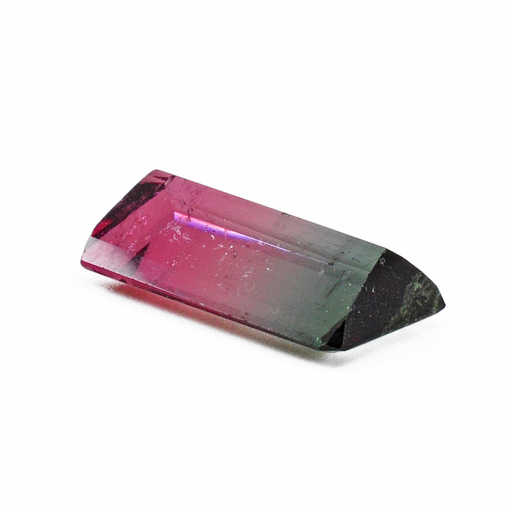 Bi-color Pink and Blue-Green Tourmaline 19.96 mm 10.9 ct Rectangle Faceted Gemstone