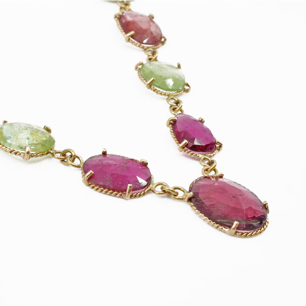 Pink and Green Tourmaline Faceted 20 inch 14K Handcrafted Gemstone Necklace