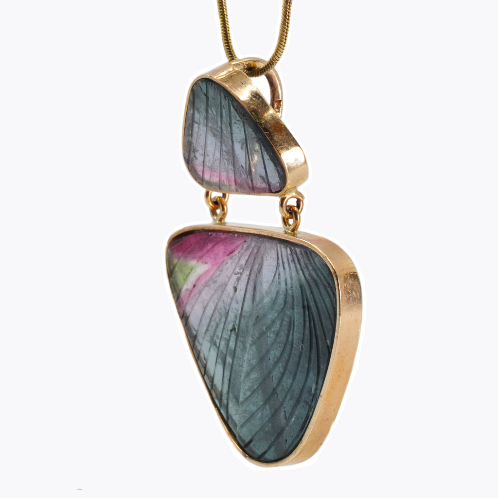Multi-Colored Tourmaline 1.7 inch 36.3 ct Butterfly Wing Carving 14K Handcrafted Gemstone Pendant