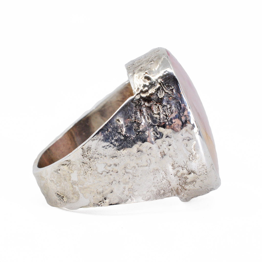 Pink Tourmaline in Quartz Cabochon Sterling Silver Handcrafted Gemstone Ring