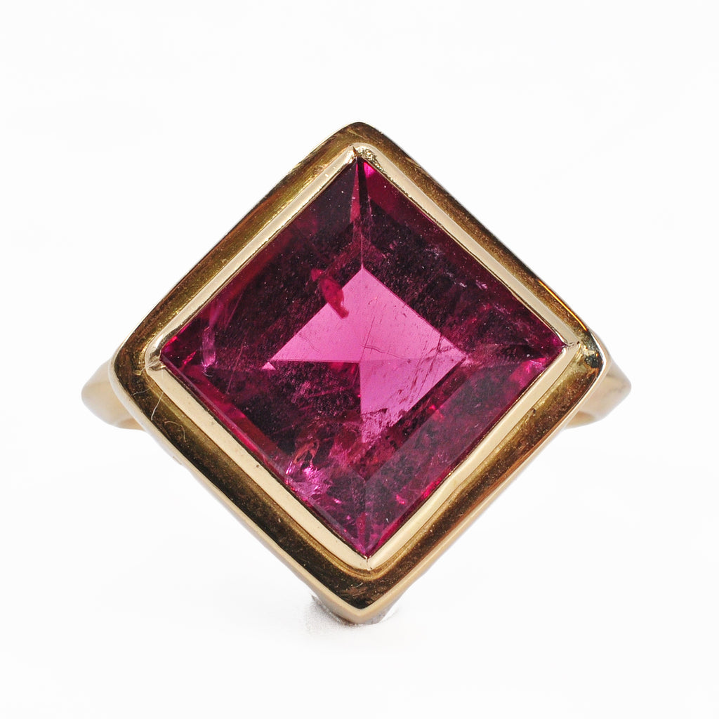 Pink Tourmaline 18.52 mm 5.39 ct Square Faceted 14K Handcrafted Gemstone Ring