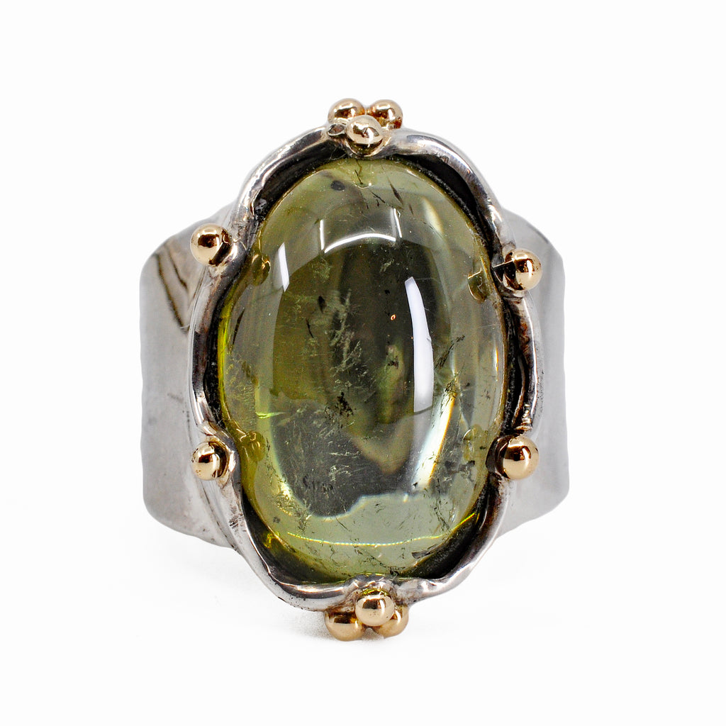 Green Tourmaline 16.71 mm 16.69ct Oval Cabochon Sterling Silver with 14K Handcrafted Crown Ring