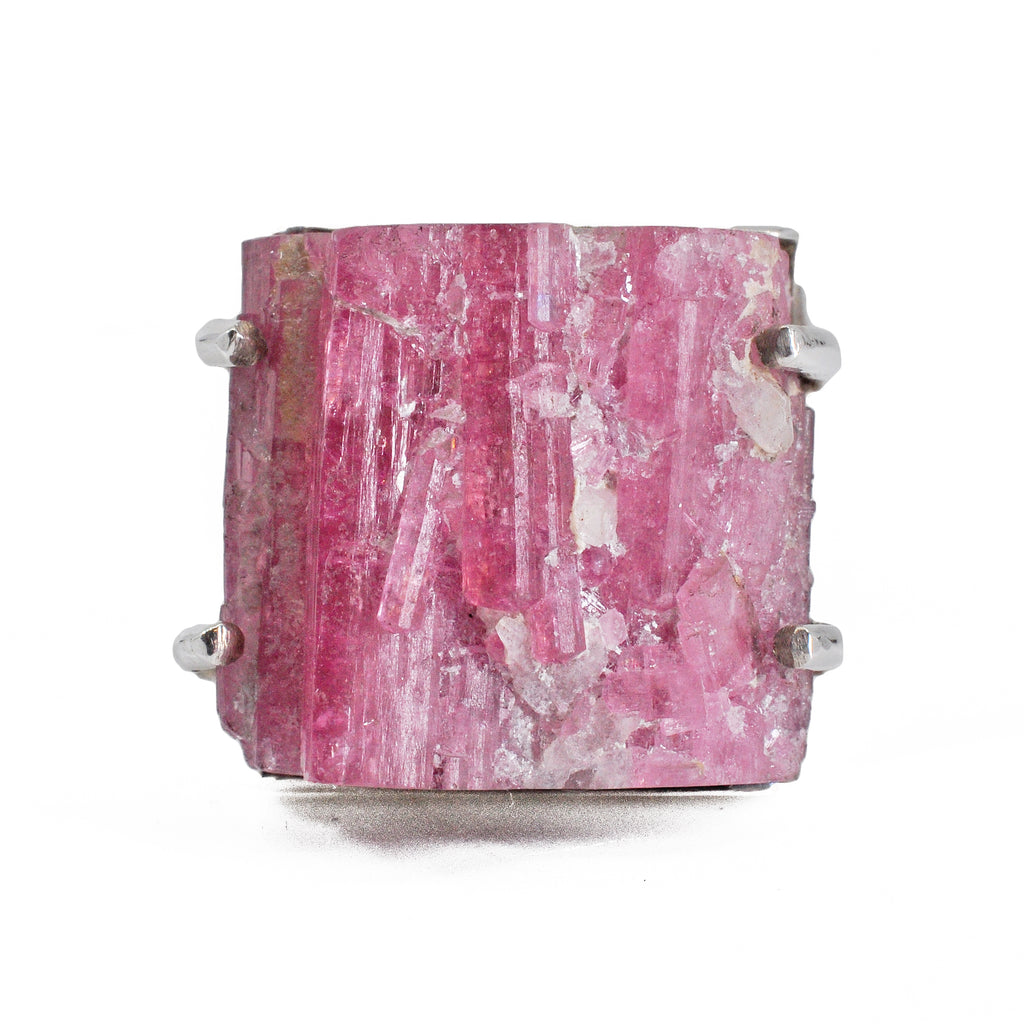 Pink Tourmaline 42.98ct Natural Crystal Sterling Silver Ring