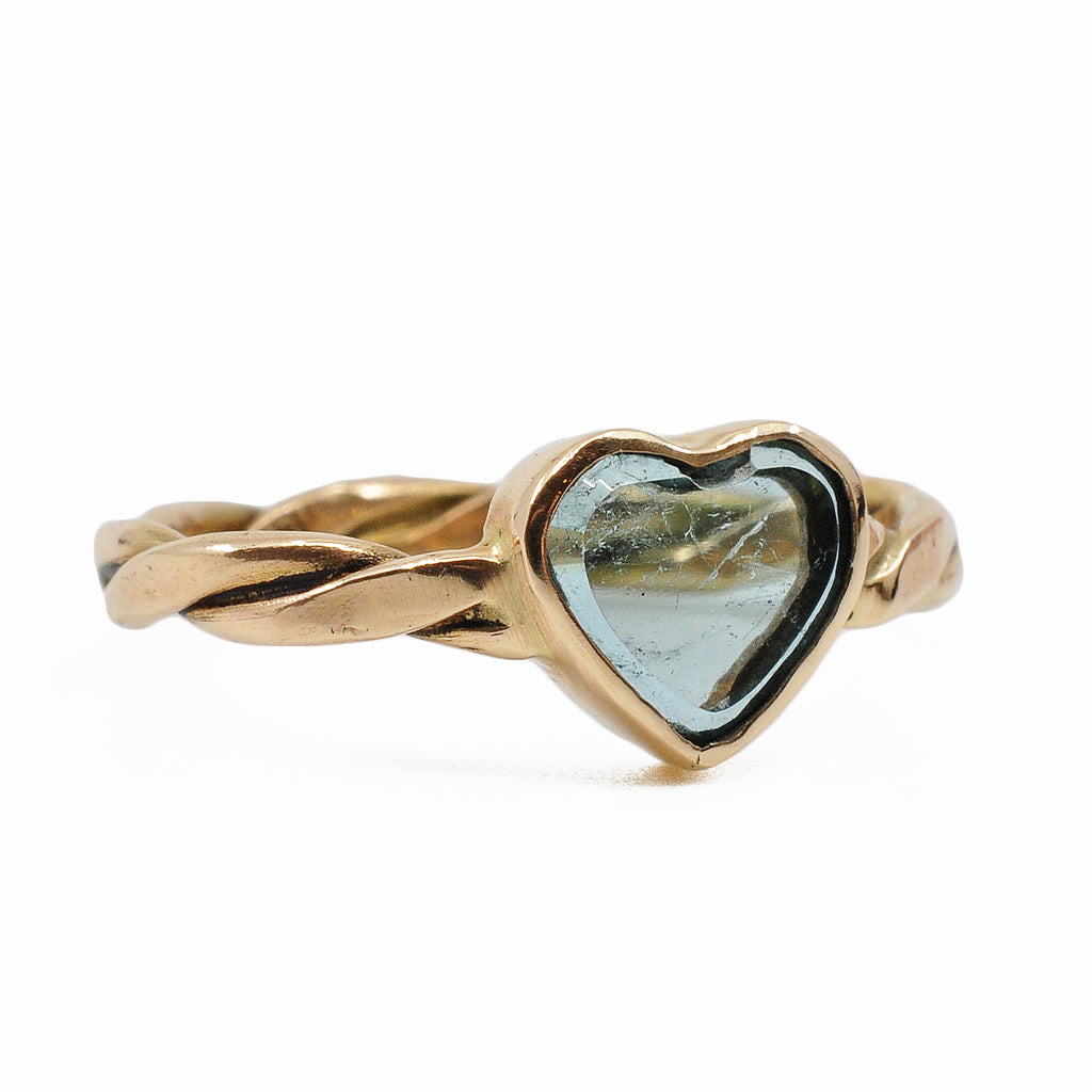 Blue Tourmaline 8.34 mm 1.13 carats Heart 14K Handcrafted Gemstone Ring