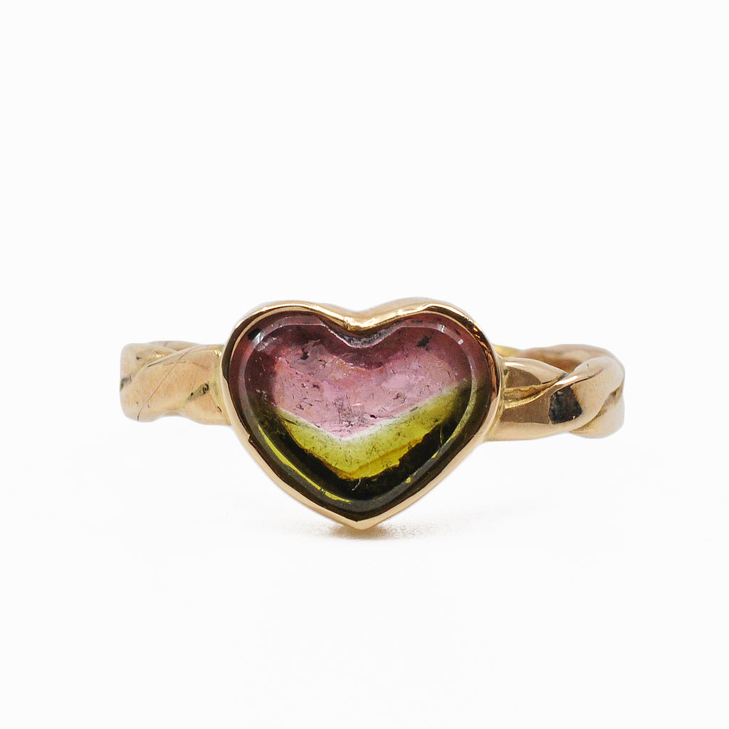Pink and Green Tourmaline 9.81 mm 2.06 carats Heart 14K Handcrafted Gemstone Ring