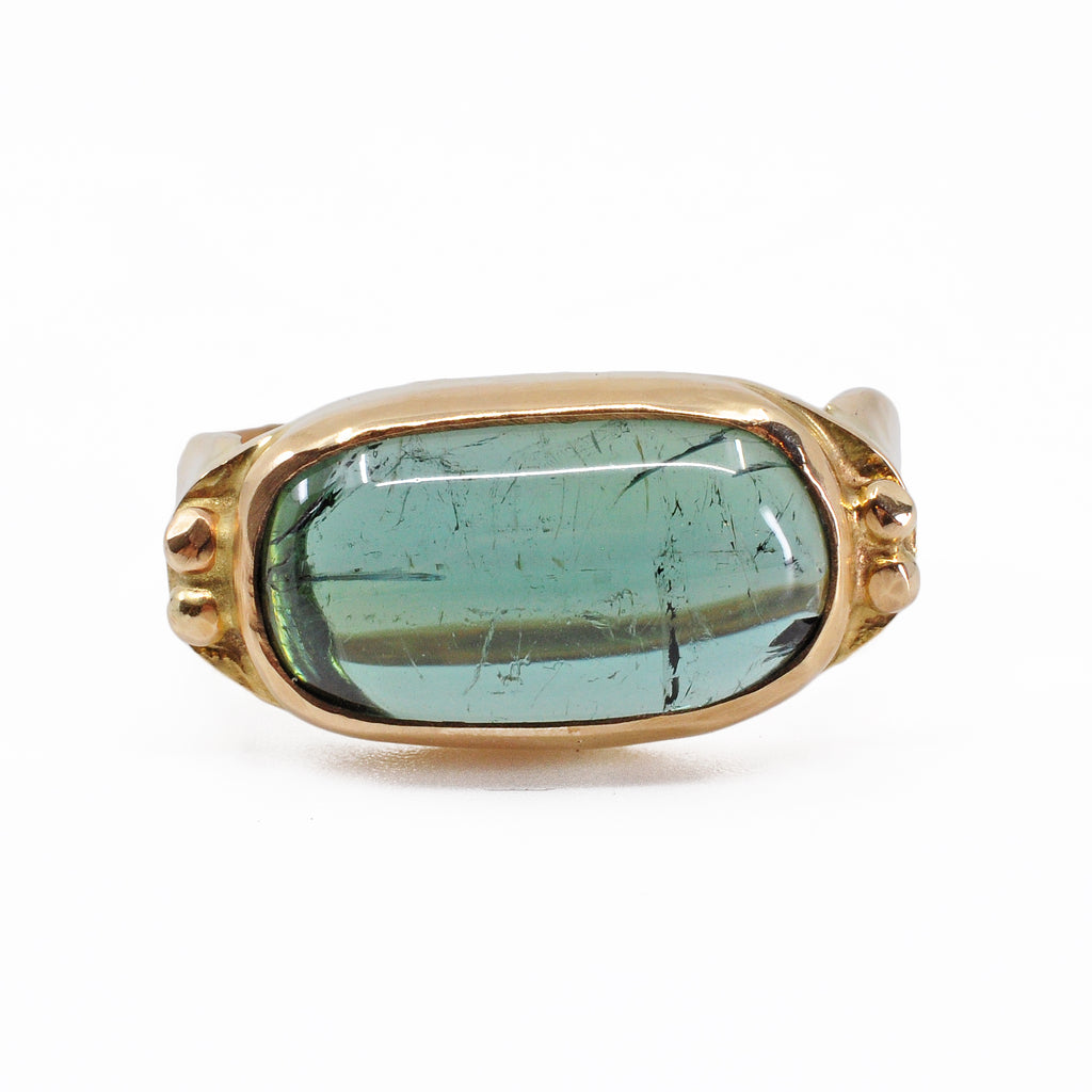 Green Tourmaline 17.65 mm 7.95 ct Oval Cabochon 14K Handcrafted Gemstone Ring