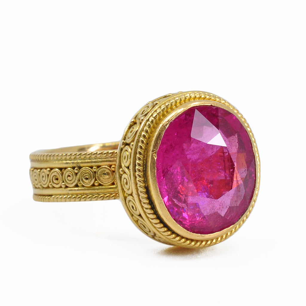Rubellite Tourmaline 11.83 mm 5.37 ct Oval Faceted 22K Scroll Gemstone Ring