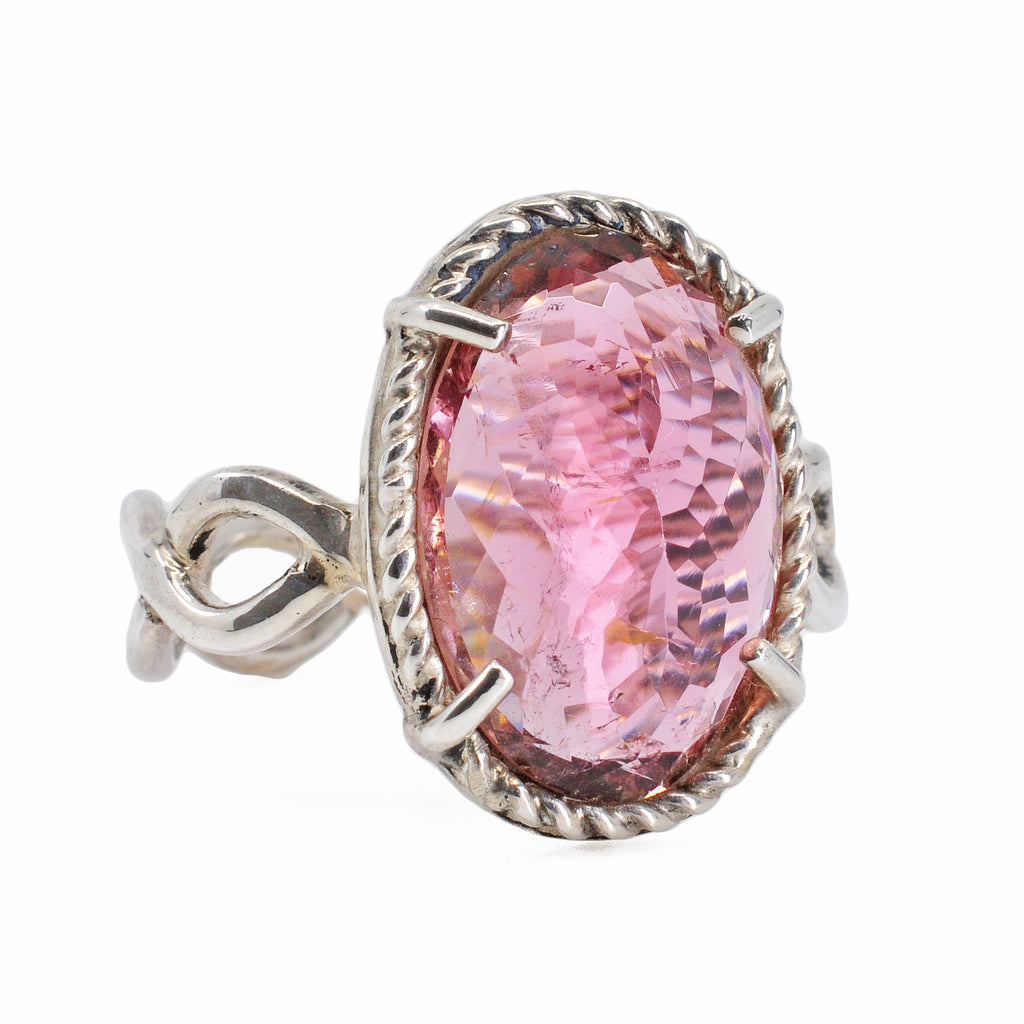Pink Tourmaline 16.68 mm 7.0 carat Faceted Oval Handcrafted Sterling Silver Gemstone Ring