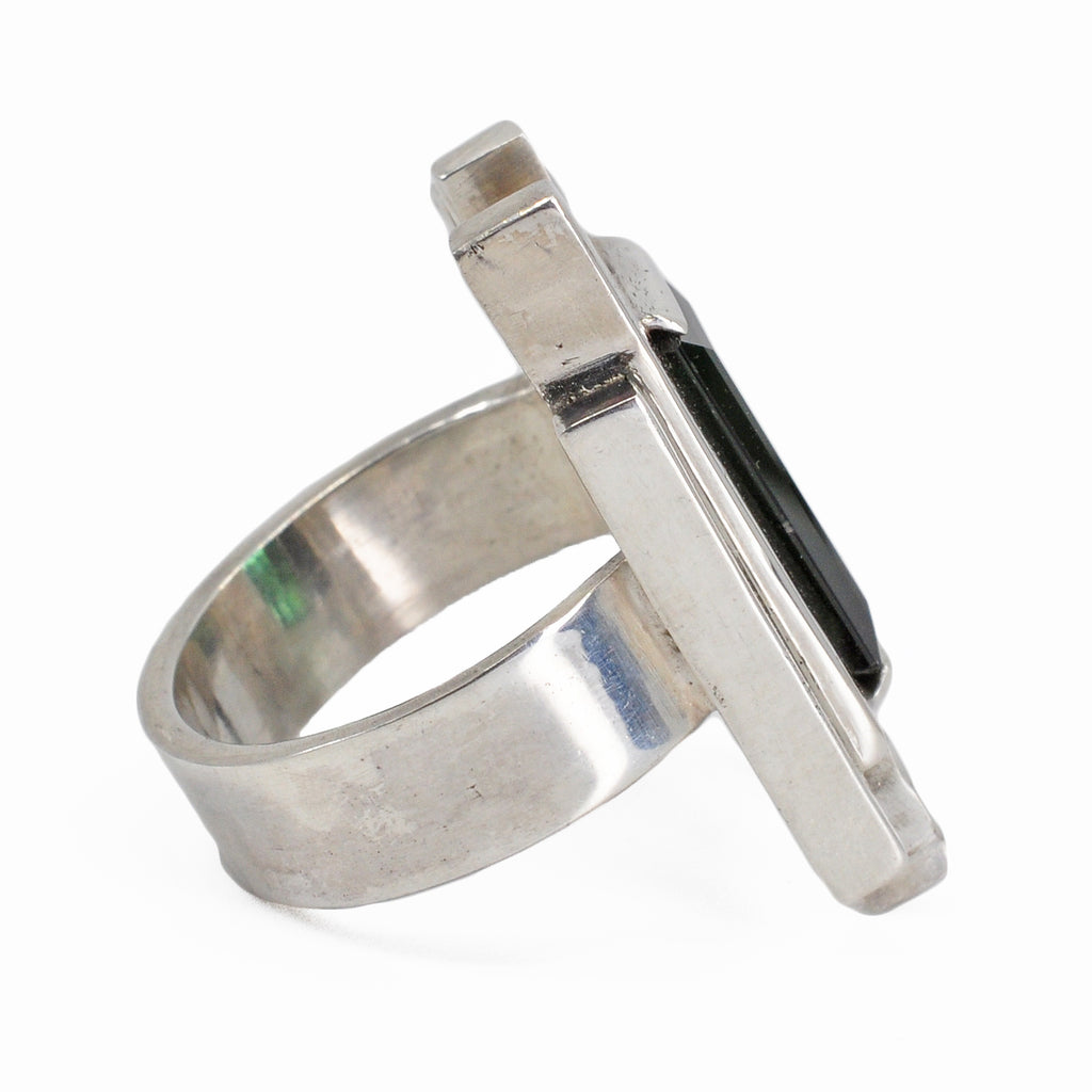 Green Tourmaline 14.88 mm 6.98 carats Faceted Rectangle Sterling Silver Art Deco Handcrafted Gemstone Ring