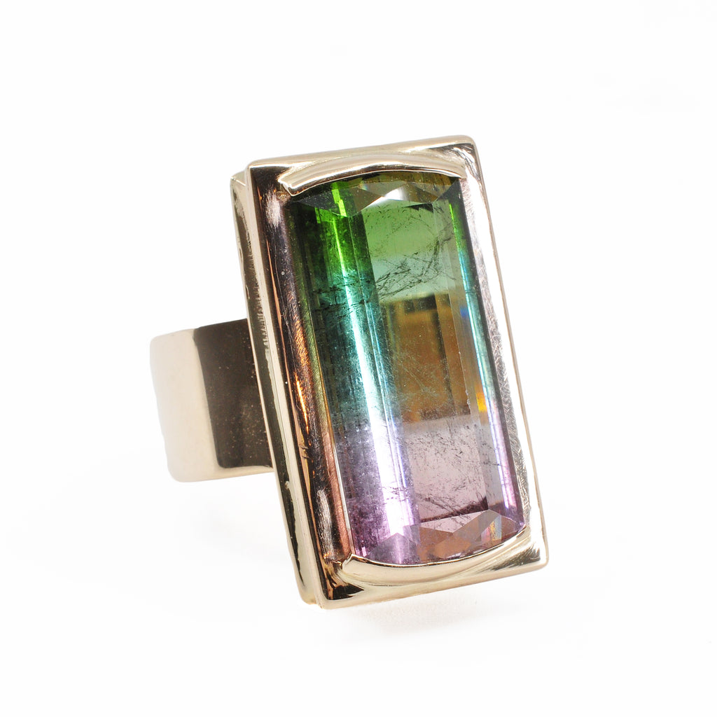 Bi-color Pink and Green Tourmaline 16.53 cts 23.61 mm Faceted Rectangle 14K Handcrafted Gemstone Ring