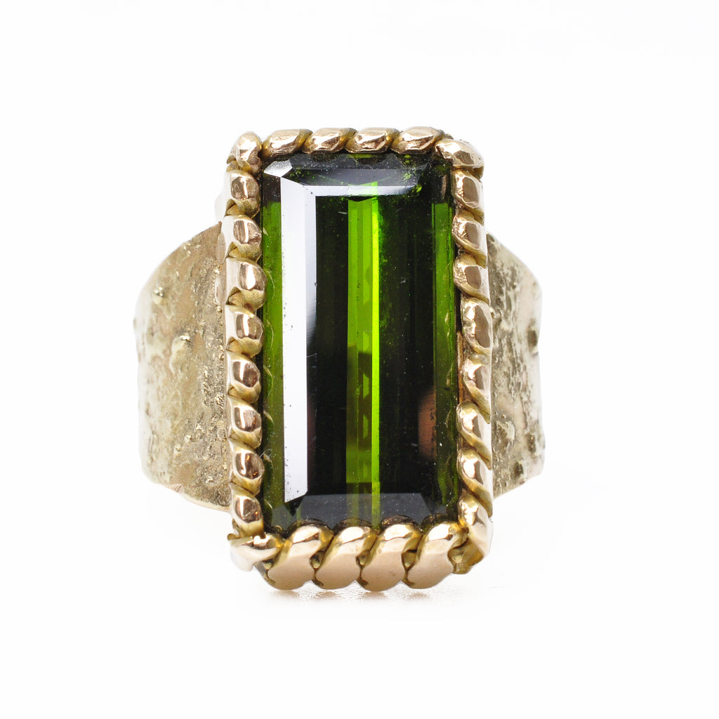 Tourmaline - Faceted Green Tourmaline 14k Handcrafted Gemstone Ring