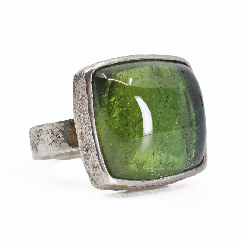 Green Tourmaline 17.01 mm 21.62 carats Square Cabochon Sterling Silver Handcrafted Ring