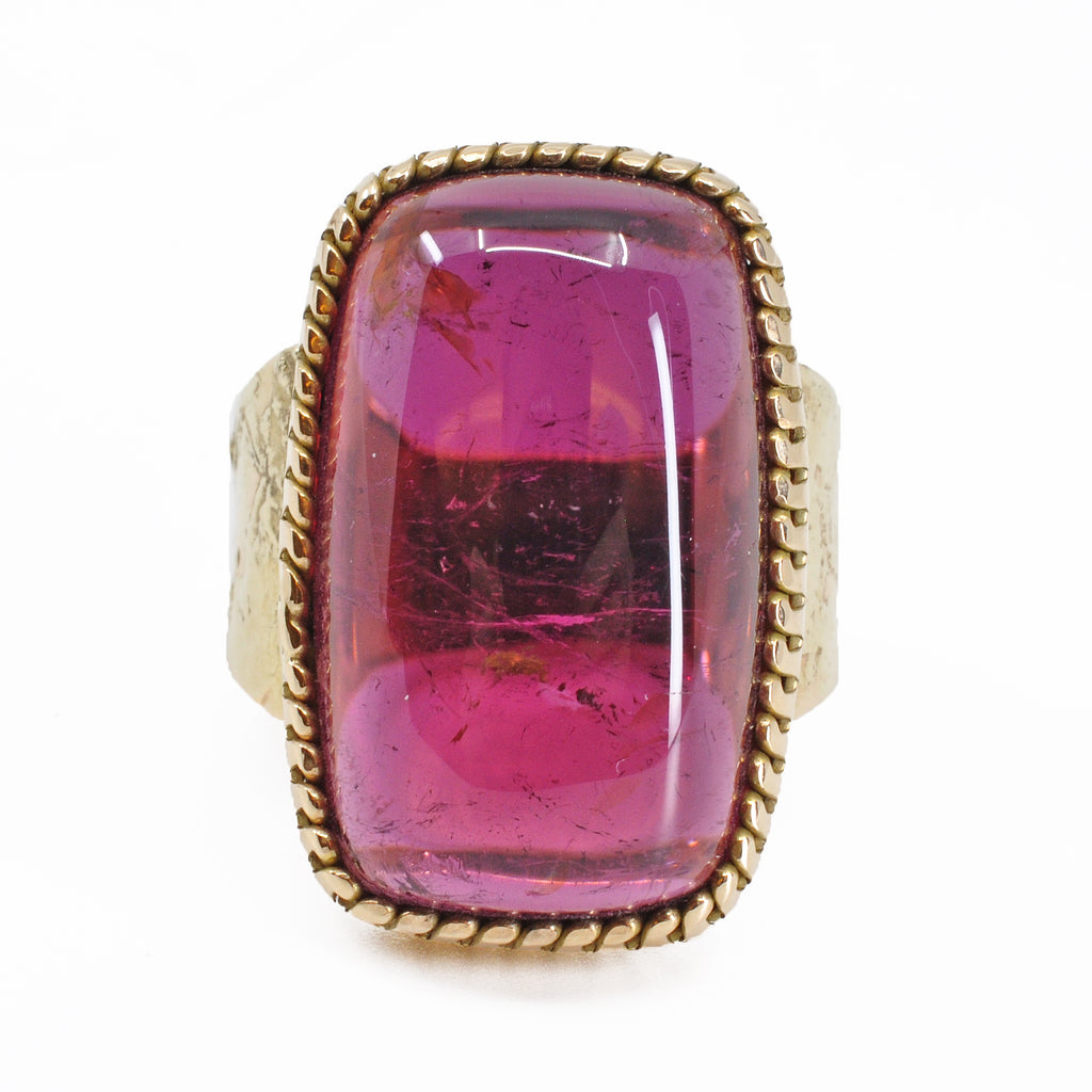 Rubelite Tourmaline 23.38 mm 27.86 carats Rectangle Cabochon 14K Handcrafted Gemstone Ring