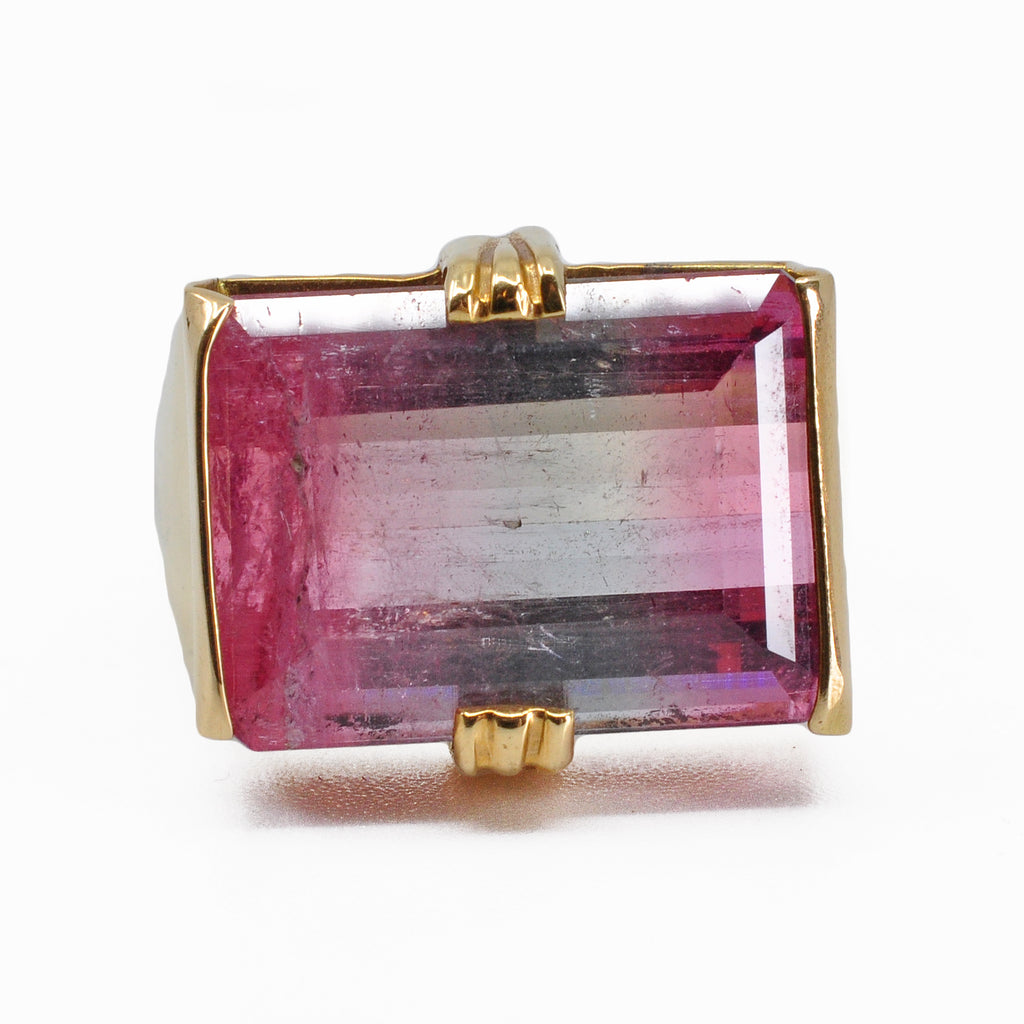 Bi-color Pink and Blue Tourmaline 17.05 mm 12.01 ct Faceted Rectangle 18K Handcrafted Gemstone Ring