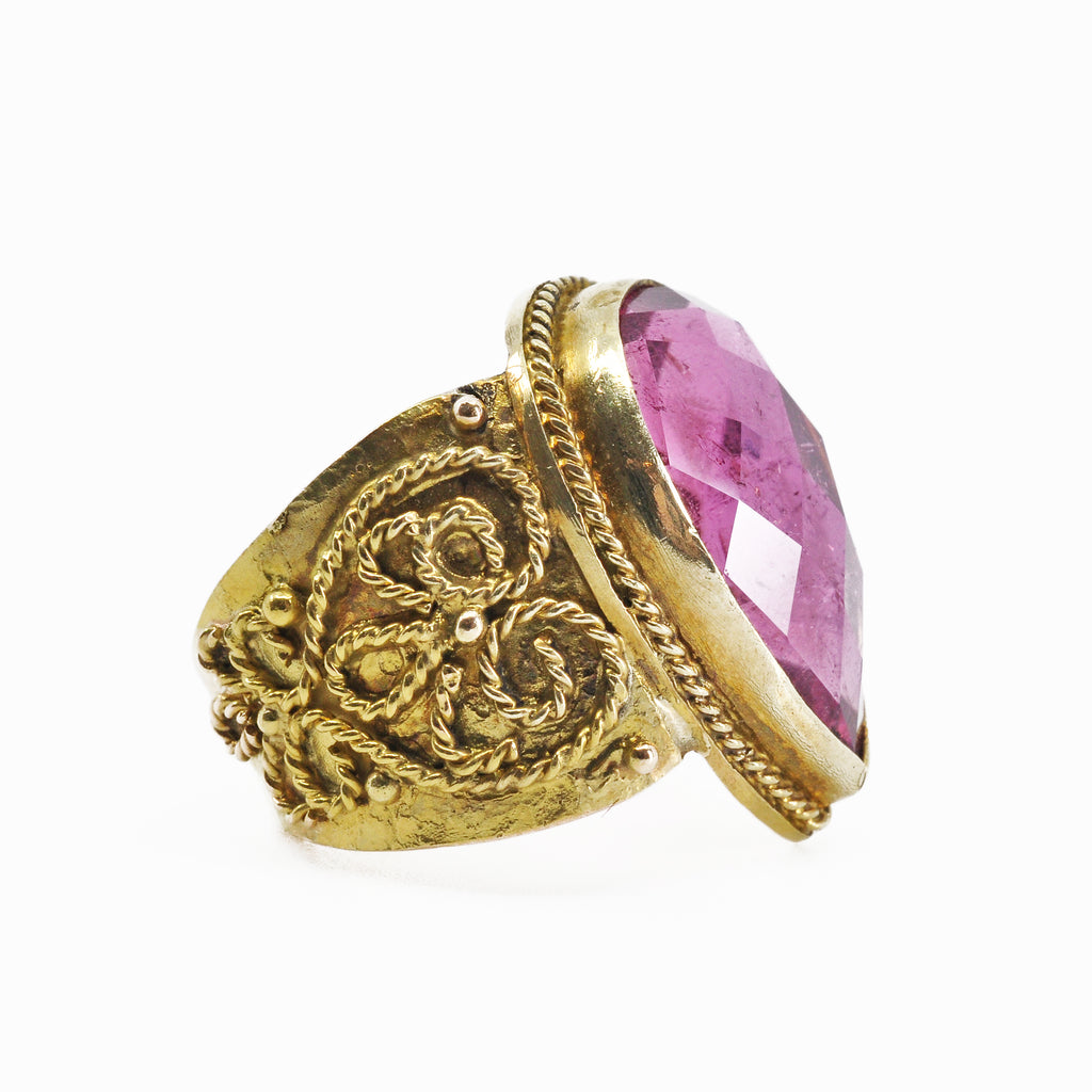 Tourmaline - Faceted Pink Tourmaline 14k Handcrafted Gemstone Ring