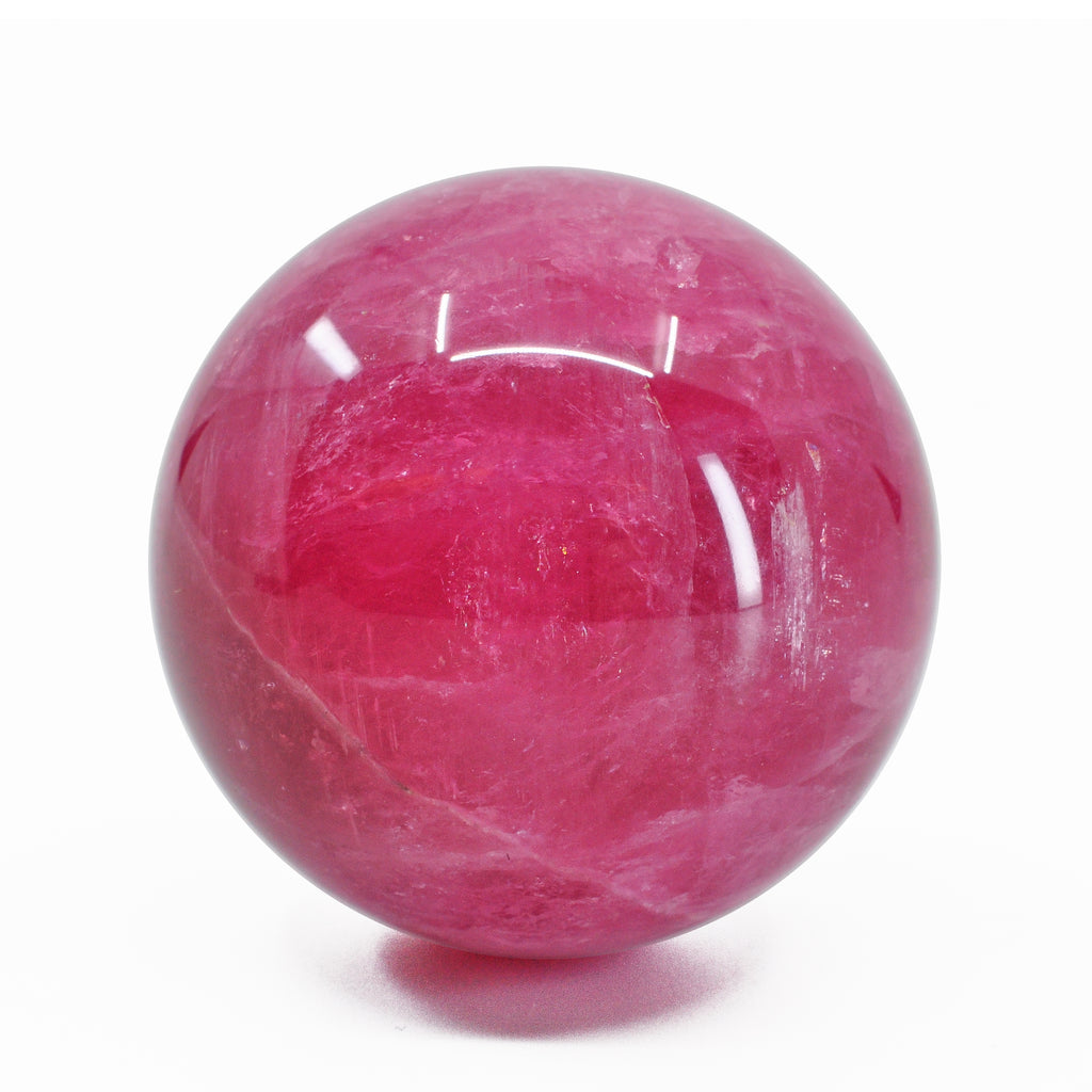 Vibrant Pink Tourmaline 1.35 inch 65 gram Natural Crystal Polished Sphere - Russia