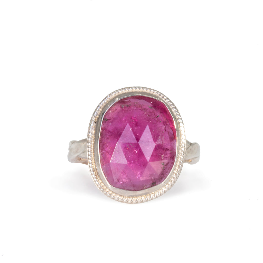 Pink Tourmaline 6.37 carat Rosecut Handcrafted Sterling Silver Ring