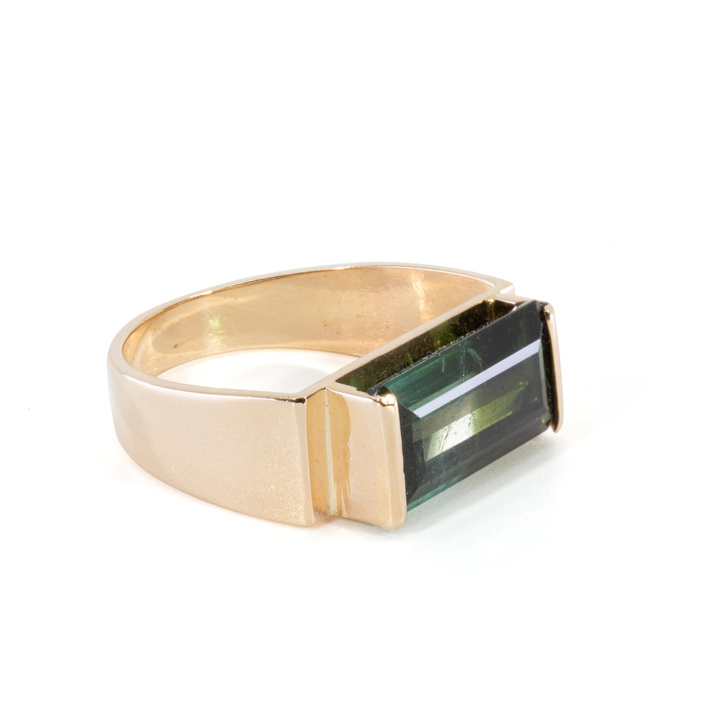 Bi- Color Blue Green Tourmaline 4.63 carat Handcrafted 14k Ring