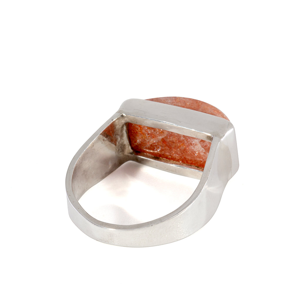 Sunstone 7.49 carat Horizontal Handcrafted Sterling Silver Ring