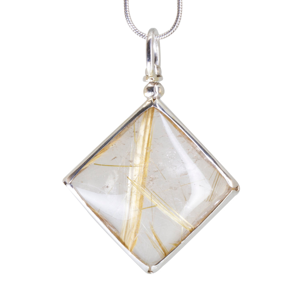 Rutilated Quartz 24.91 carat Handcrafted Sterling Silver Swivel Pendant