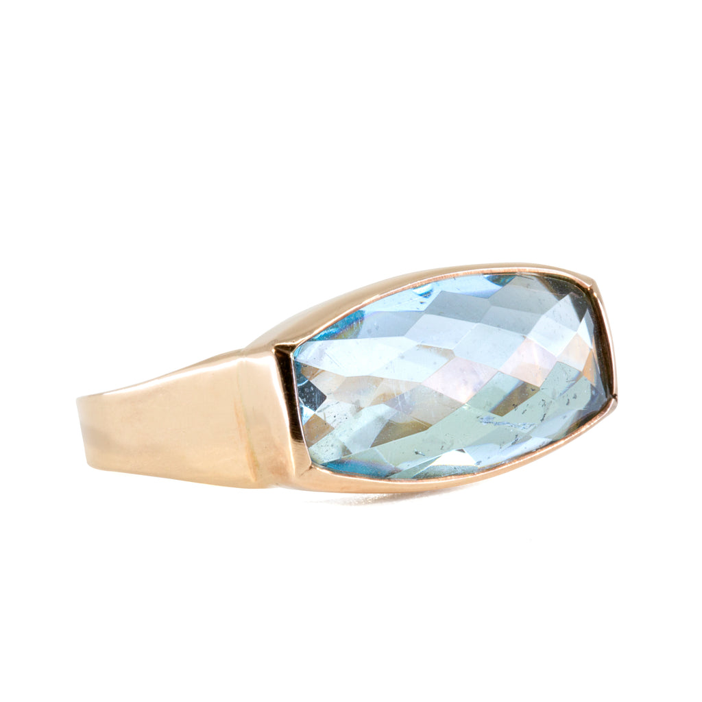 Aquamarine 6.33 carat Faceted Horizontal 14k Handcrafted Ring