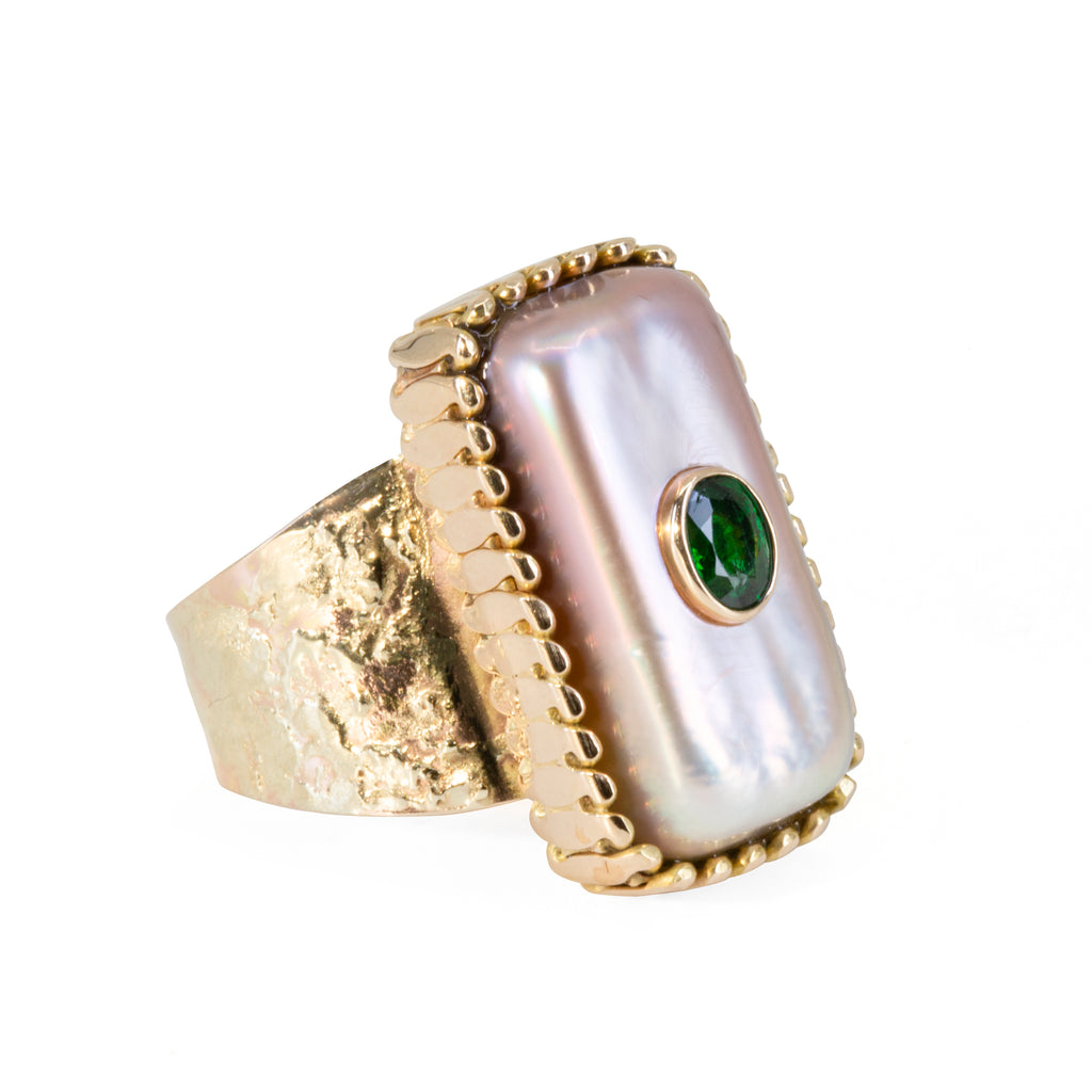 Pearl 11.24 carat with Tsavorite Garnet Handcrafted 14k Gold Ring