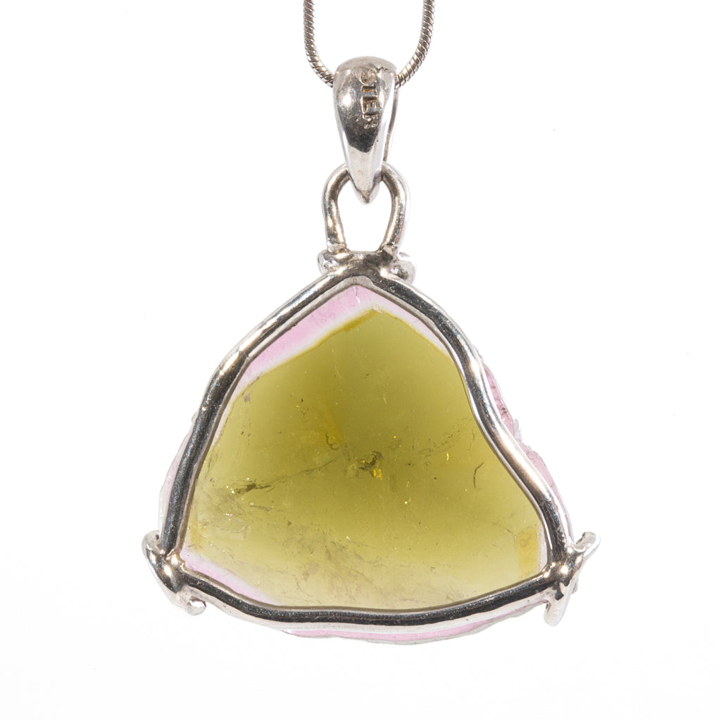 Watermelon Tourmaline 21.48ct Handcrafted Sterling Silver Crystal Slice Pendant