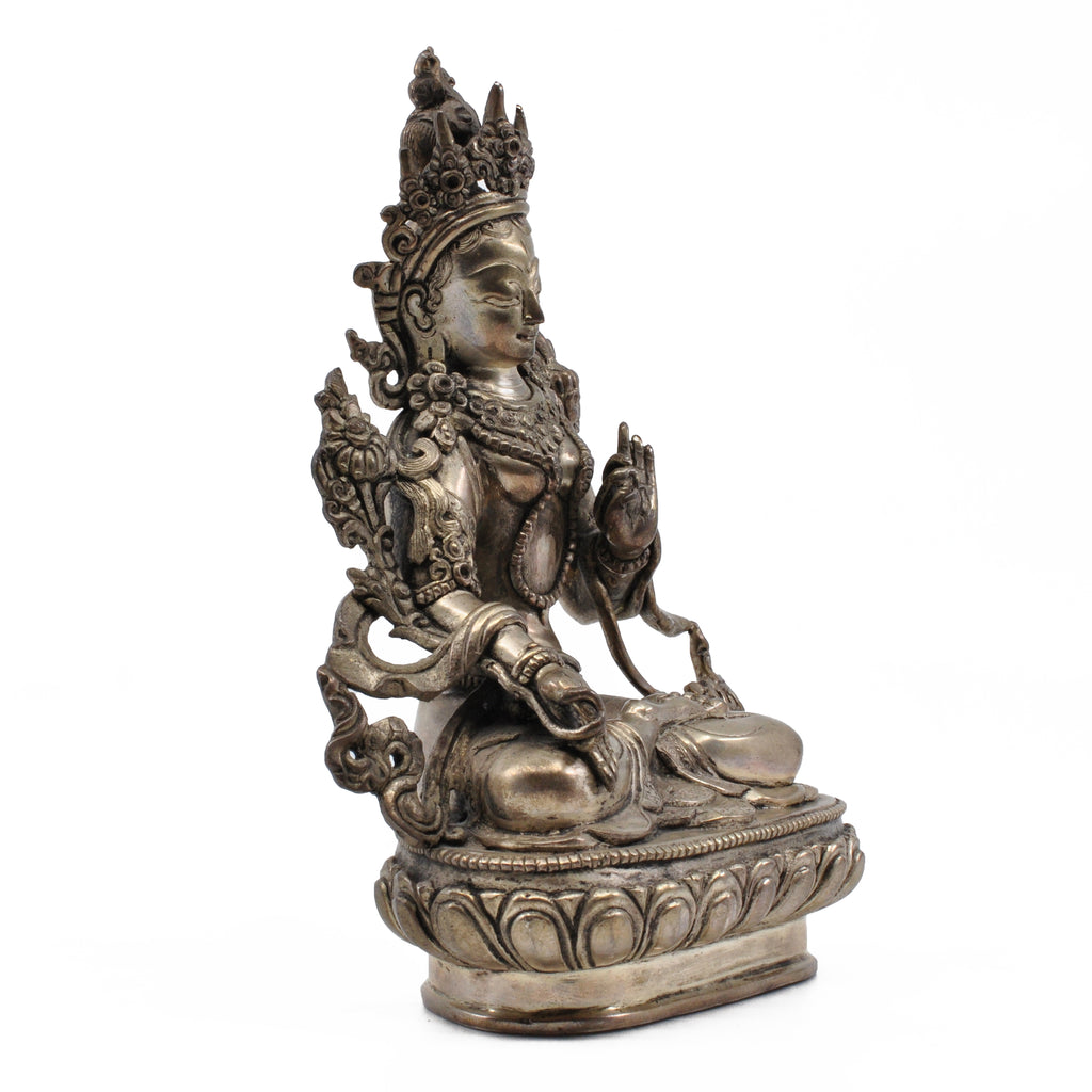 Sterling Silver White Tara 6.25 in 1.5 lb Statue - Nepal