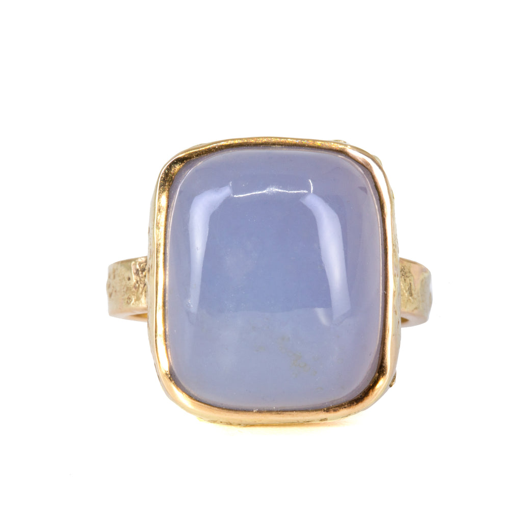 Blue Chalcedony 16.97 carat 14k Handcrafted Cabochon Ring