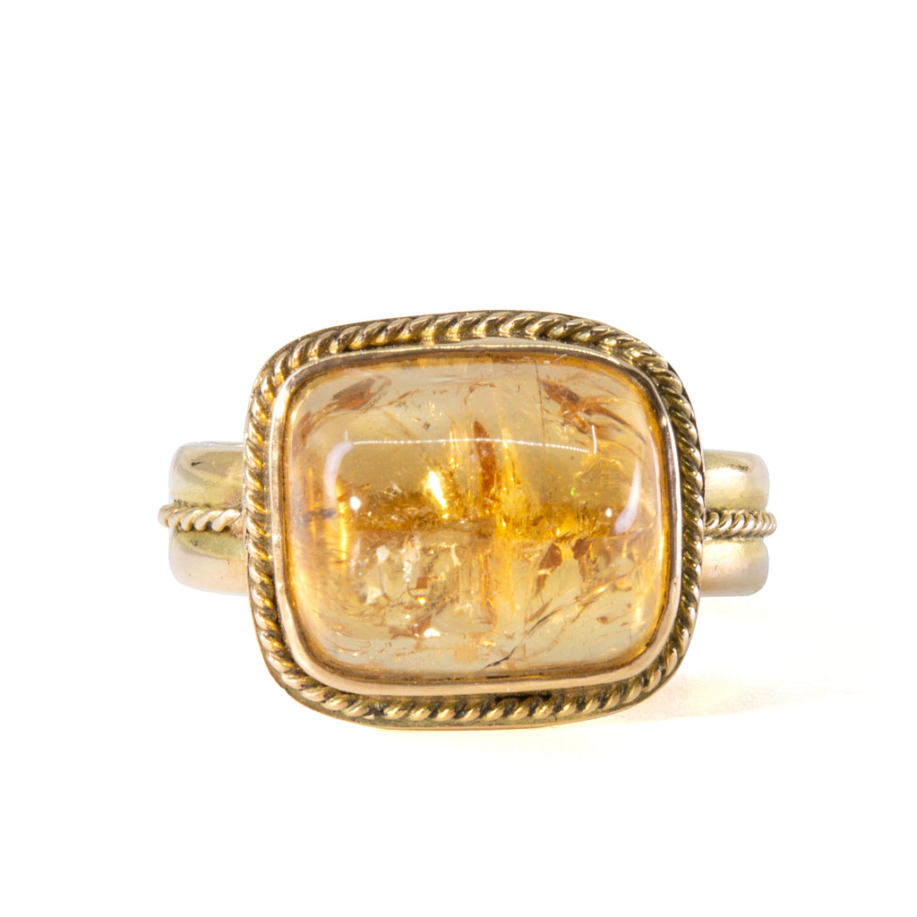 Imperial Topaz 13.67 carat Handcrafted 14k Cabochon Ring
