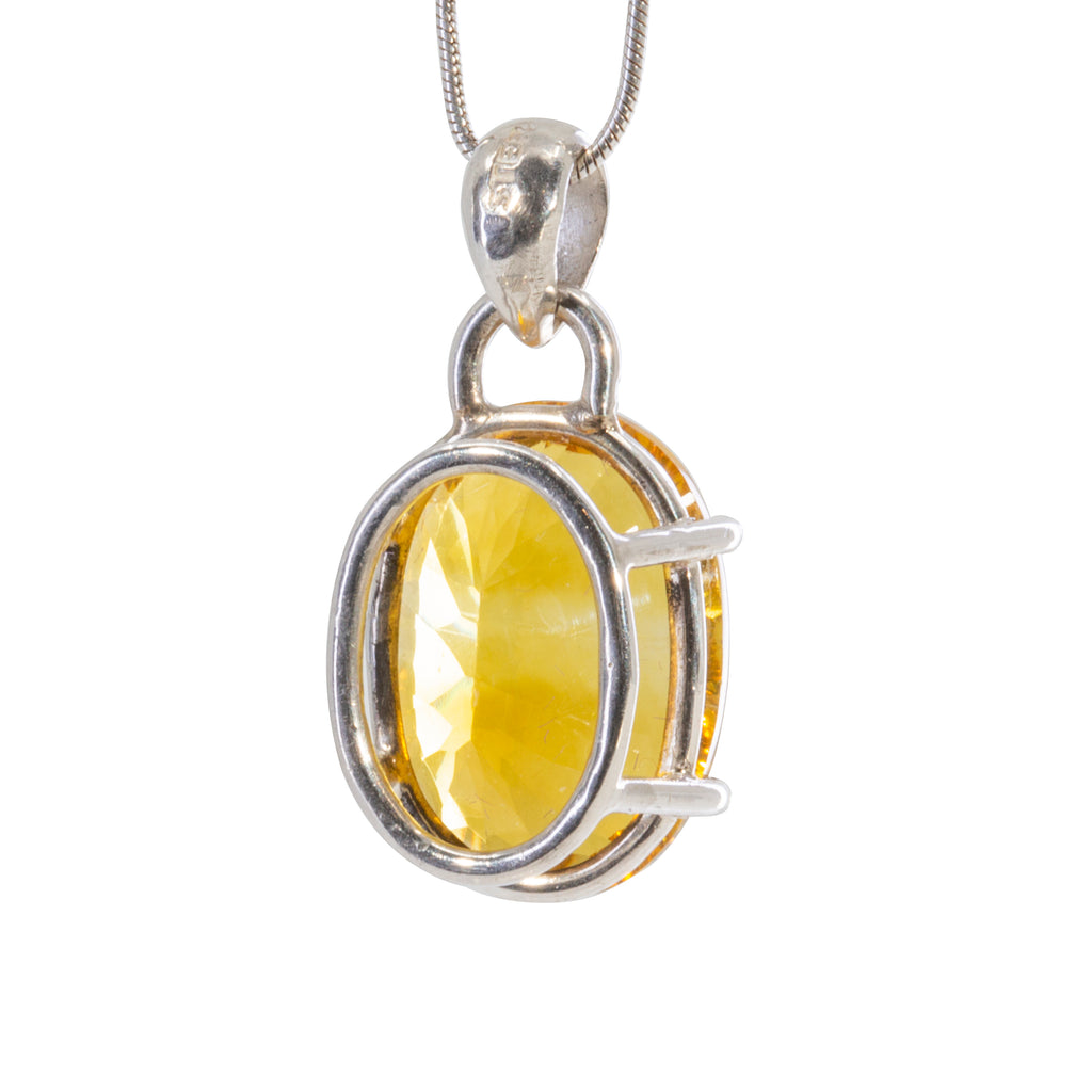 Yellow Fluorite 9.4 carat Handcrafted Sterling Silver Faceted Gemstone Pendant