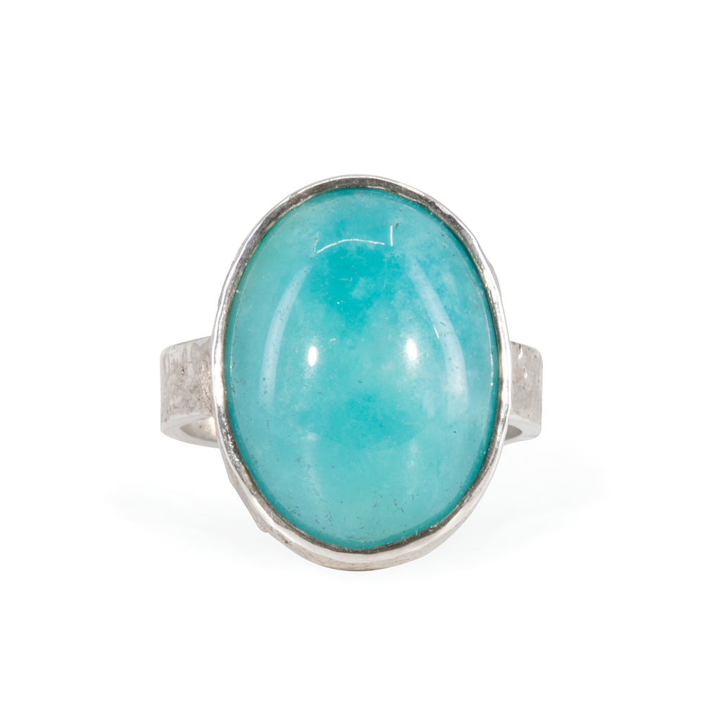 Amazonite 17.13 carat Handcrafted Sterling Silver Textured Ring