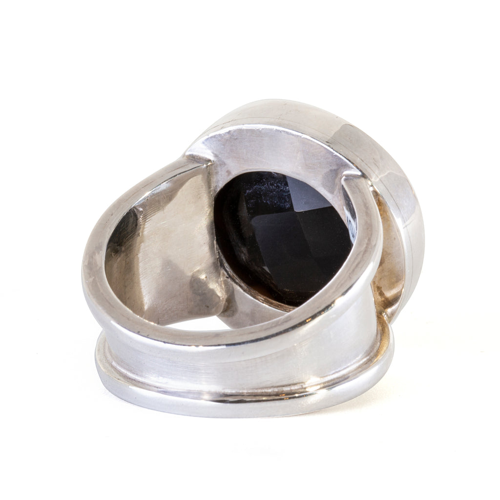 Black Quartz 24.25 carat Carved Fleur De Lis Sterling Silver Ring