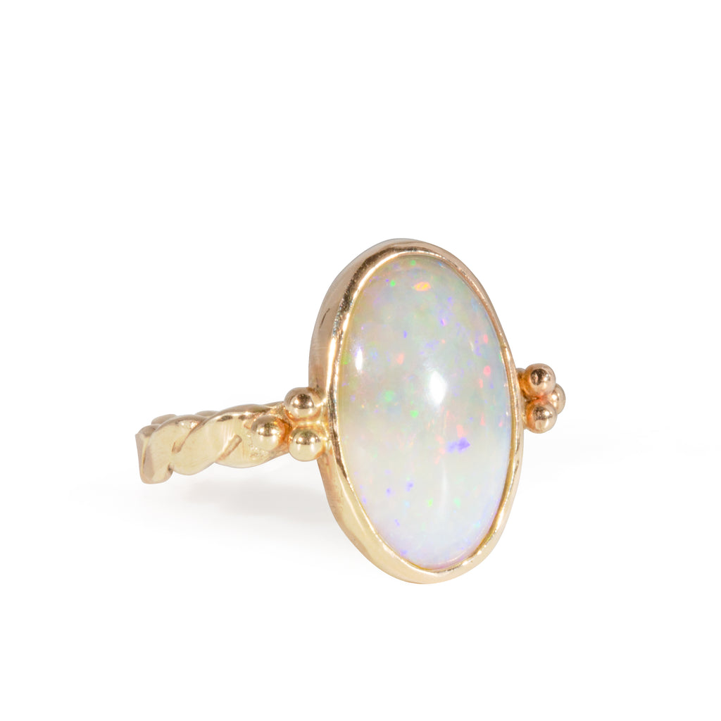 Opal 3.04 carat Handcrafted 14k Twist Band Ring