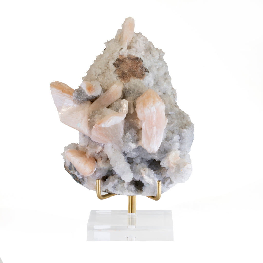 Heulandite and Stilbite 5.2 inch 1.54lb Natural Crystal Specimen - India