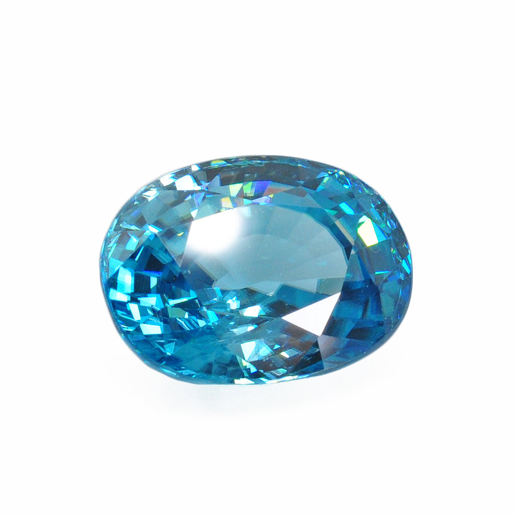 Blue Zircon 13.69 mm 10.89 carats Faceted Oval Gemstone - Thailand