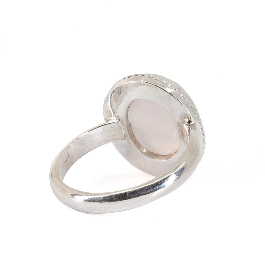 Rose Quartz 8.58 carat Rose Cut Sterling Silver Handcrafted Ring