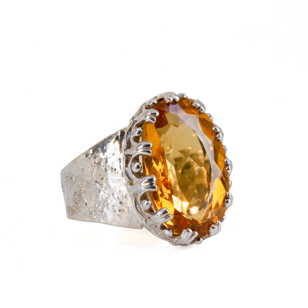 Citrine 8.89 carat Faceted Sterling Silver Handcrafted Fancy Bezel Ring
