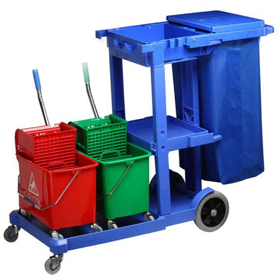 Janitor trolley for cleaning equipment 125cm