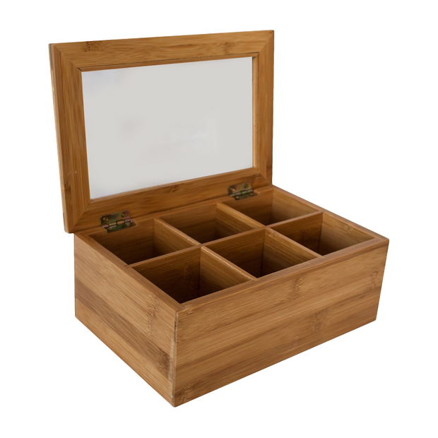 Bamboo tea box with 6 sections 24.1cm