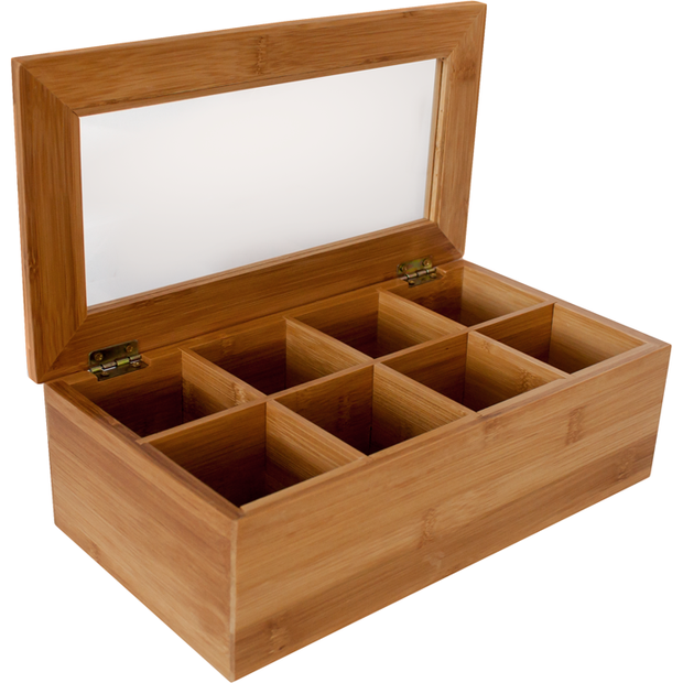 Bamboo tea box with 8 sections 31cm