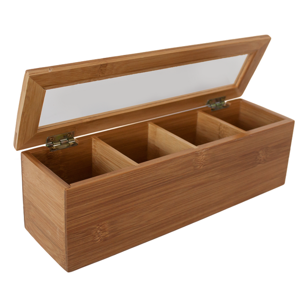 Bamboo tea box with 4 sections 9cm