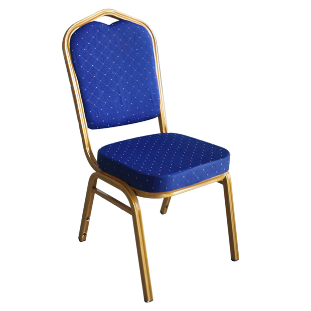 Catering chair with metal frame and blue cushion seat 92cm