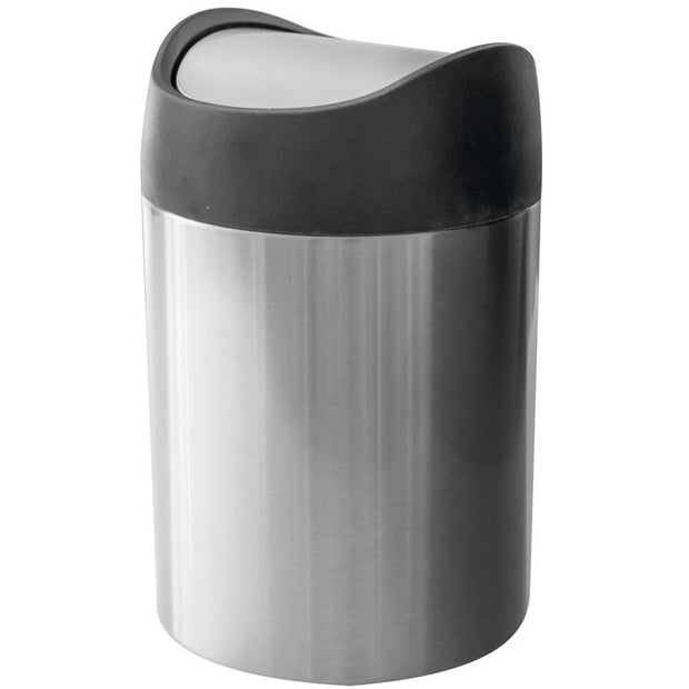 Round metal table bin with swinging lid 1.5 litres