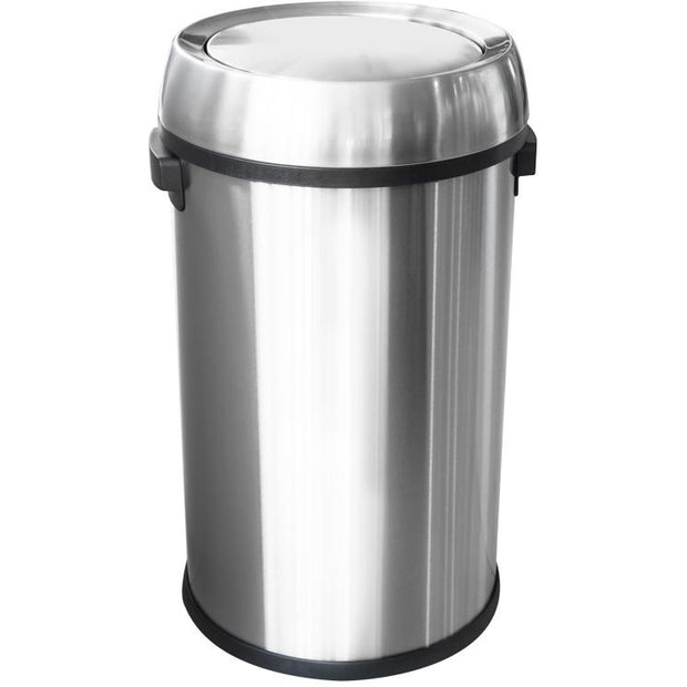 Round metal trash can with lid 65 litres