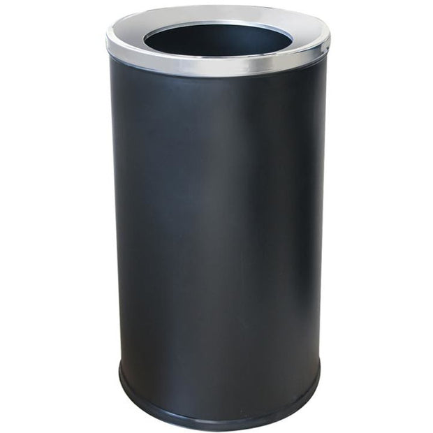 Round metal for trash can with inner bucket black 70 litres